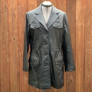 Danier Black Leather Jacket Coat (no belt)